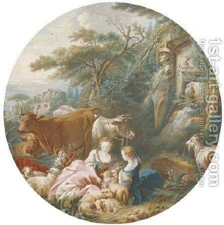 Two shepherdesses with their flocks and herds by an antique spring, classical ruins seen beyond by (after) Pierre-Antoine Baudouin - Reproduction Oil Painting