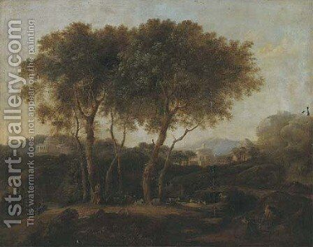 A classical wooded landscape with a goatherd and his flock by (after) Pierre-Antoine Patel - Reproduction Oil Painting