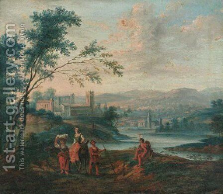 Muleteers and shepherds on tracks in riverlandscapes by (after) Pieter Bout - Reproduction Oil Painting