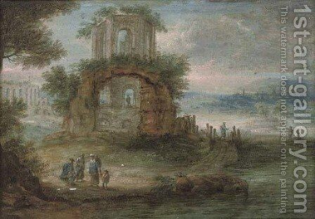 A wooded river landscape with travellers at rest by classical ruins by (after) Pieter Bout - Reproduction Oil Painting
