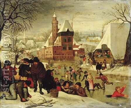 A winter landscape with peasants skating and playing kolf on a frozen river, a town beyond by (after) Pieter The Younger Brueghel - Reproduction Oil Painting