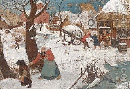 A winter landscape with peasants in a village by (after) Pieter The Younger Brueghel - Reproduction Oil Painting