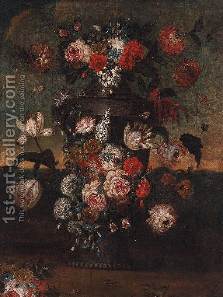 Flowers in an urn in a landscape by (after) Pieter Casteels III - Reproduction Oil Painting