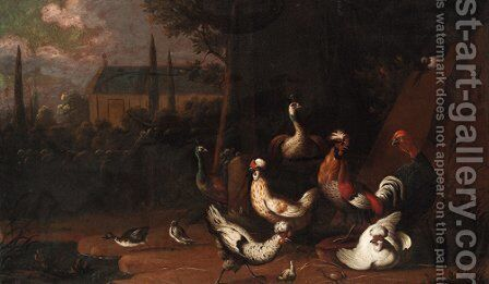 Poultry in a farmyard by (after) Pieter Casteels III - Reproduction Oil Painting