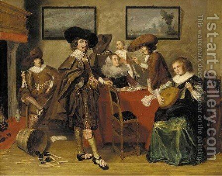 Elegant company in an interior by (after) Pieter Codde - Reproduction Oil Painting