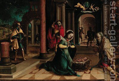 The Adoration of the Shepherds by (after) Pieter Coecke Van Aelst - Reproduction Oil Painting