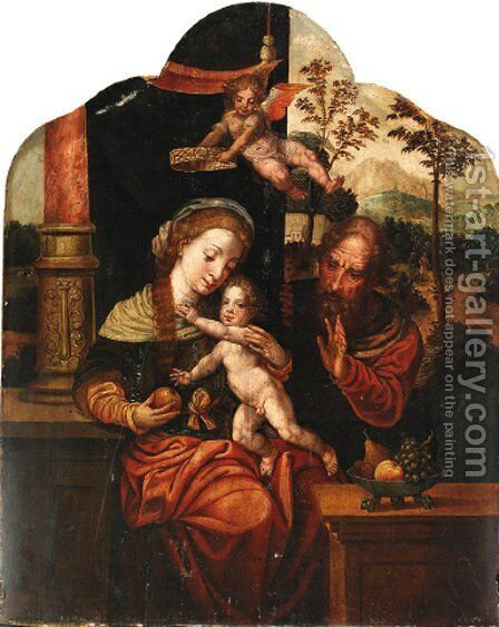 The Holy Family with an angel crowning the Virgin, a landscape beyond by (after) Pieter Coecke Van Aelst - Reproduction Oil Painting