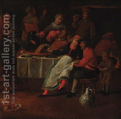 Peasants merrymaking in an inn by (after) Pieter De Bloot - Reproduction Oil Painting