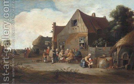 Peasants outside an inn by (after) Pieter De Bloot - Reproduction Oil Painting
