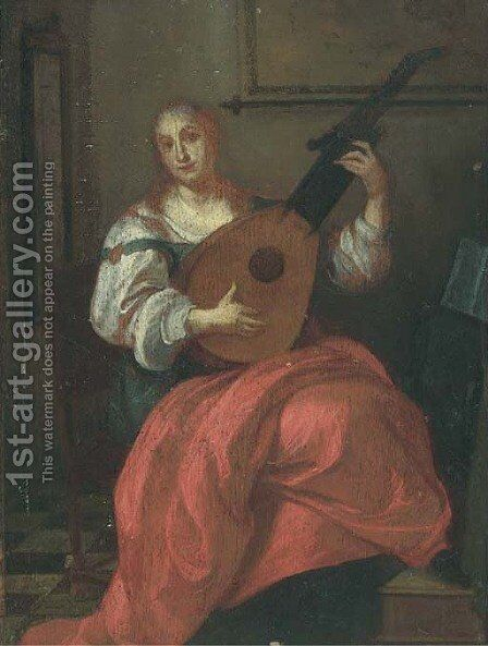 A lady playing a lute in an interior by (after) Pieter De Hooch - Reproduction Oil Painting