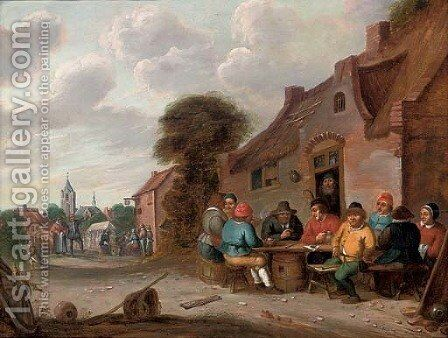 A landscape with travellers at rest on a track by (after) Pieter De Molijn - Reproduction Oil Painting