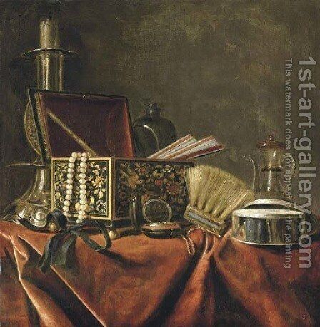 A silver candlestick, an emamelled jewellery box with a pearl necklace and a pair of fans by (after) Pieter Gerritsz. Van Roestraeten - Reproduction Oil Painting