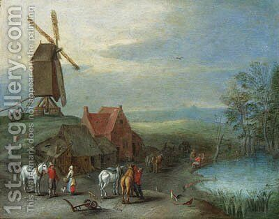 A landscape with a windmill and peasants and horses by a pool by (after) Pieter Gysels - Reproduction Oil Painting