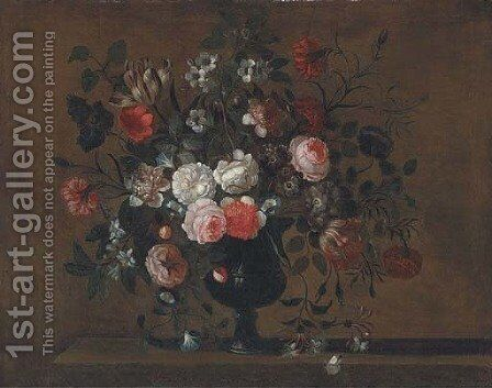 Parrot tulips, roses, morning glory, chrysanthemums and other flowers in a vase on a ledge by (after) Pieter Hardime - Reproduction Oil Painting