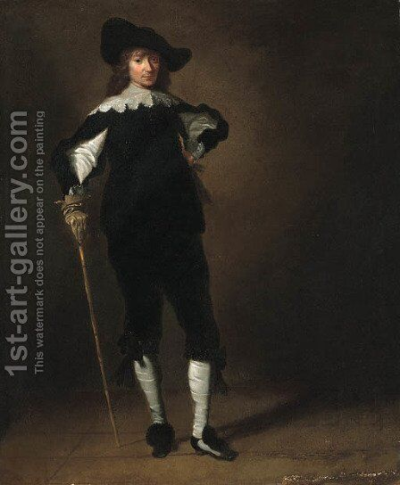 A Cavalier, standing small full length by (after) Pieter Codde - Reproduction Oil Painting