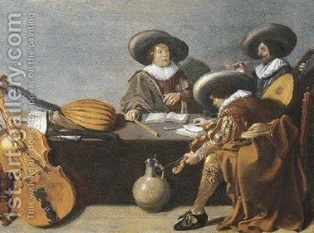Officers smoking and music-making in an interior by (after) Pieter Codde - Reproduction Oil Painting