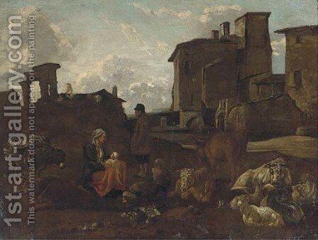 An Italainate landscape with a drover, his family and cattle by (after) Pieter Van Laer (BAMBOCCIO) - Reproduction Oil Painting