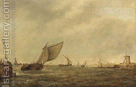 Shipping in a stiff breeze by (after) Pieter The Elder Mulier - Reproduction Oil Painting