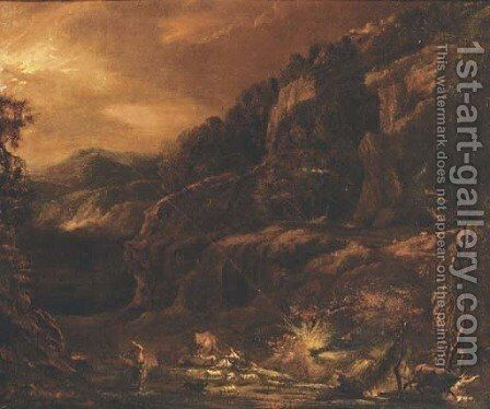 A rocky landscape in a storm by (after) Pieter The Younger Mulier (Tampesta, Pietro) - Reproduction Oil Painting