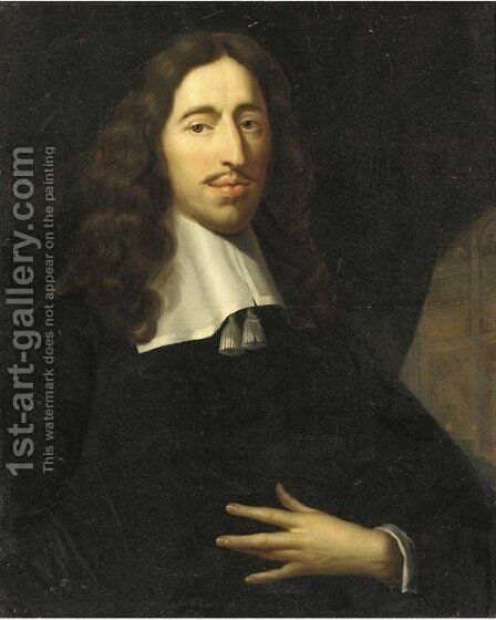 Portrait of a gentleman, half-length, in an interior by (after) Pieter Nason - Reproduction Oil Painting