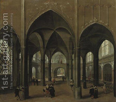 The interior of a church with elegant figures by (after) Pieter The Younger Neefs - Reproduction Oil Painting