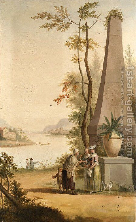 A Fortune Teller and other Figures in extensive river Landscapes by (after) Pieter Norbertus Van Reysschoot - Reproduction Oil Painting