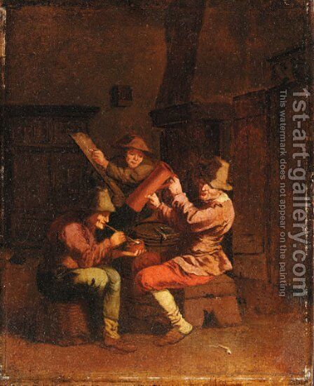 Peasants smoking and drinking in an Interior by (after) Pieter Jansz. Quast - Reproduction Oil Painting