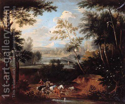 An Italianate landscape with a drover and cattle at a stream by (after) Pieter Rysbrack - Reproduction Oil Painting
