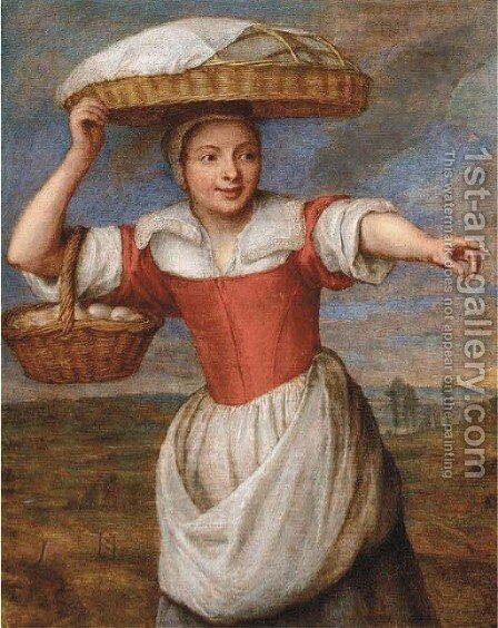 A maid carrying a basket of eggs, in a landscape by (after) Pieter Snayers - Reproduction Oil Painting