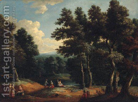 A wooded landscape with peasants by a sandy track by (after) Peter Tillemans - Reproduction Oil Painting