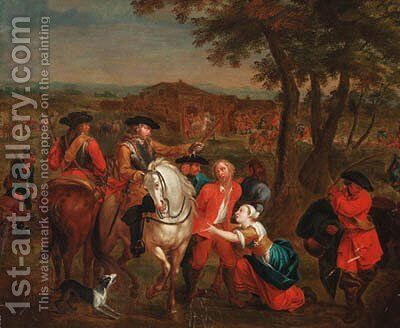Cavalrymen with a prisoner by (after) Pieter Van Bloemen - Reproduction Oil Painting