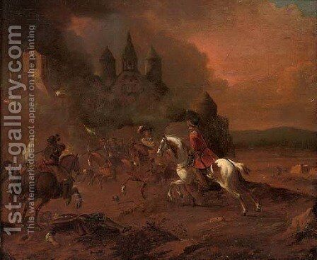A cavalry skirmish before a town by (after) Pieter Van Bloemen - Reproduction Oil Painting