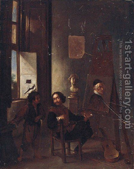A painter in his studio by (after) Pieter Van Laer (BAMBOCCIO) - Reproduction Oil Painting