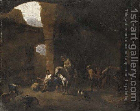 Travellers taking shelter in Roman ruins by (after) Pieter Van Laer (BAMBOCCIO) - Reproduction Oil Painting