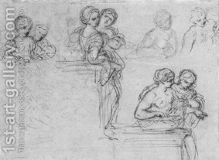 Studies of half-length figures leaning on plinths by (after) Cortona, Pietro da (Berrettini) - Reproduction Oil Painting