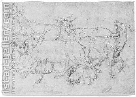 Five goats by (after) Perino Del Vaga (Pietro Bonaccors) - Reproduction Oil Painting