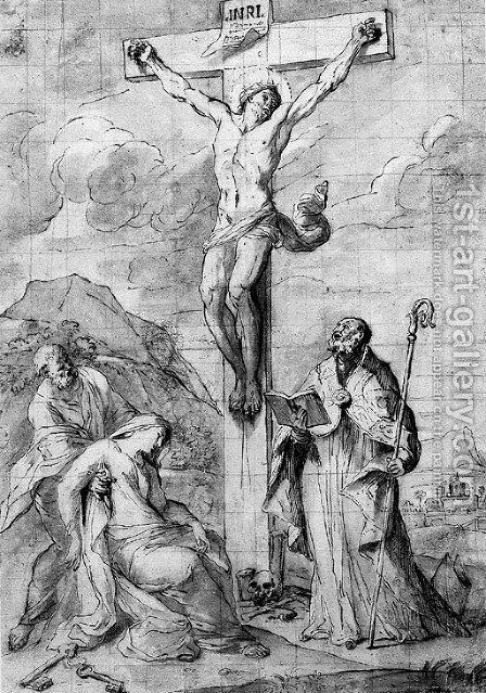 The Crucifixion, with the Virgin swooning into the arms of Saint Peter, and a Bishop Saint by (after) Pietro Testa - Reproduction Oil Painting