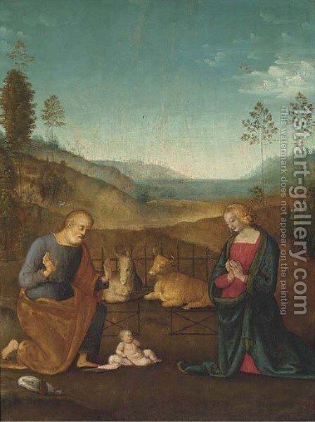 The Nativity by (after) Pietro Vannucci Perugino - Reproduction Oil Painting