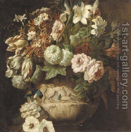 Roses, tulips, daffodils, chrysanthemums, morning glory, narcissi and other flowers in an urn decorated with putti - a fragment by (after) Rachel Ruysch - Reproduction Oil Painting