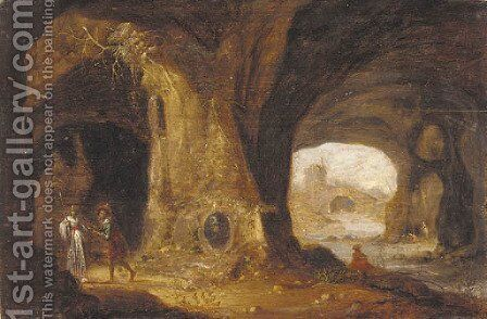 Paying hommage at the grotto by (after) Rambout Van Troyen - Reproduction Oil Painting