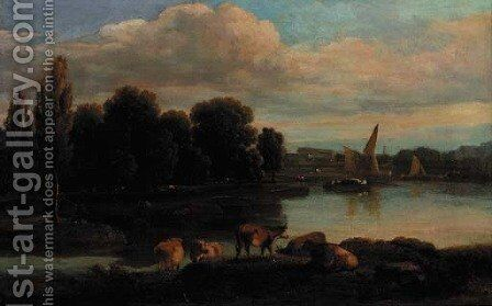 Cattle on the bank of a river with a town beyond by (after) Ramsay Richard Reinagle - Reproduction Oil Painting