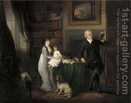 Portrait of a family, seated full-length in a library with their dog by (after) Ramsay Richard Reinagle - Reproduction Oil Painting