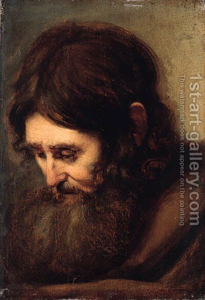 A bearded man, head-and-shoulders by (after) Rembrandt Van Rijn - Reproduction Oil Painting