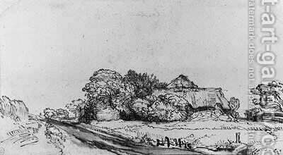 A Landscape with a Road near a Farmhouse among Trees by (after) Rembrandt Van Rijn - Reproduction Oil Painting