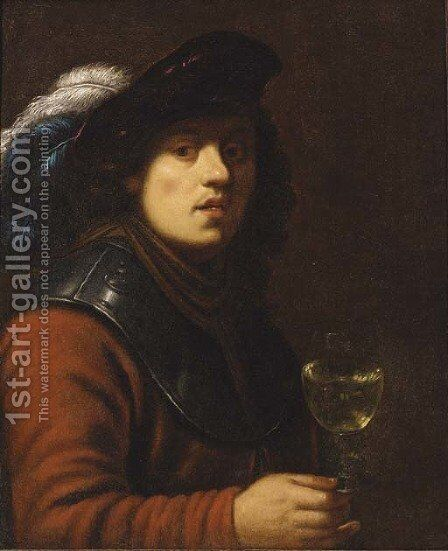 A young man by (after) Rembrandt Van Rijn - Reproduction Oil Painting