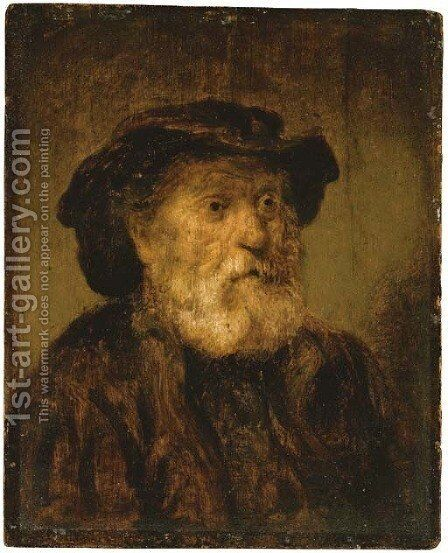 An old man in a hat by (after) Rembrandt Van Rijn - Reproduction Oil Painting