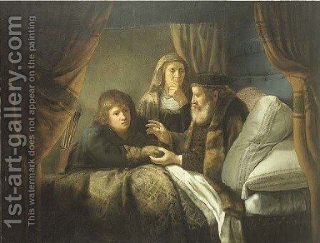Isaac blessing Jacob by (after) Rembrandt Van Rijn - Reproduction Oil Painting
