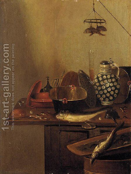 A kitchen still life with fish by (after) Reinier Or Reynier Coveyn Or Covyn - Reproduction Oil Painting