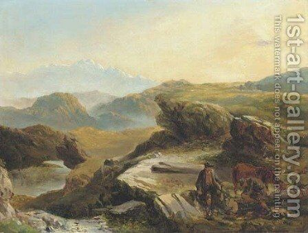 Highland landscape with figures logging in the foreground by (after) Richard Ansdell - Reproduction Oil Painting