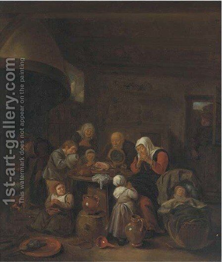 A kitchen interior with a peasant family praying before a meal by (after) Richard Brakenburgh - Reproduction Oil Painting
